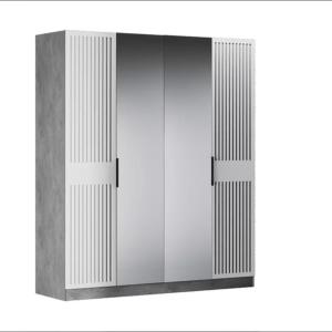 Бержер шкаф 4-х дверный 2000 мм (2 двери с зеркалом, 2 глухие)