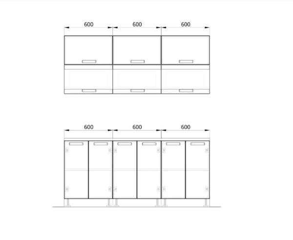 """Кухонный гарнитур """"Фиджи"""" 1,8 м (бетон/ белый)"""