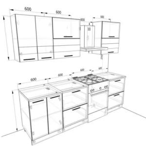 """Кухонный гарнитур """"Гарда"""" 1,8 м (ваниль/ швейцарский вяз)"""