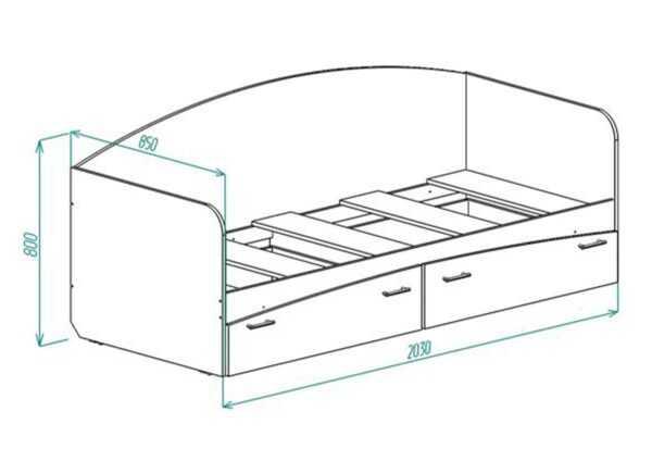 КР-1 Кровать с выдвижными ящиками на колесиках