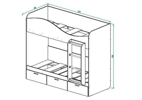 КР-5 Кровать 2х ярусная с выдвижными ящиками на колесиках