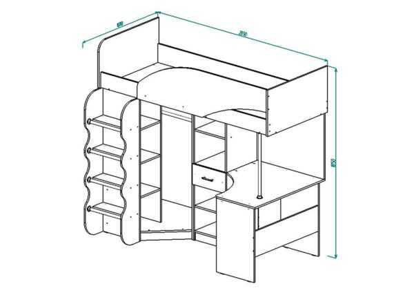 d1865c27a108199ad1c9f3debee4ab01 600x424 - Кровать-чердак со шкафом и рабочей зоной