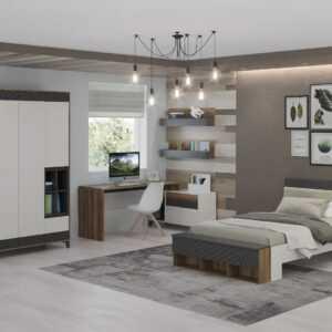 Гринвич 2 кровать большая 1,2 белый/ темно серый