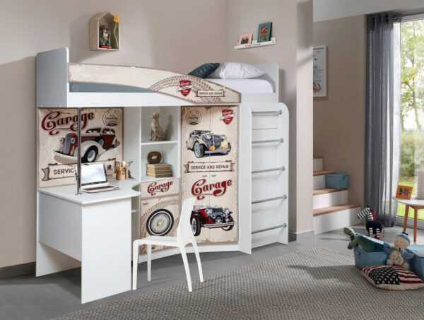 Адель-2 (Авто) кровать-чердак белый