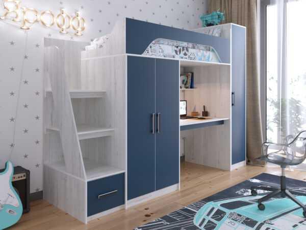 """vinterberg lazur 2 600x450 - Кровать-чердак """"Аракс"""" со шкафом и рабочей зоной"""